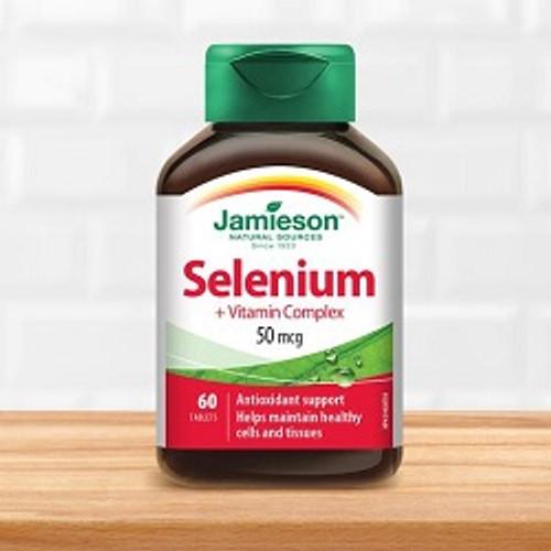 Jamieson Selenium 50 mcg + Vitamin Complex 60 Tablets | UPC 064642021694