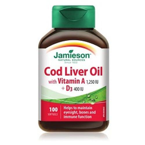 Jamieson Cod Liver Oil with Vitamin A 1250 IU + D3 400 IU 100 Softgels -  JM-1062-001