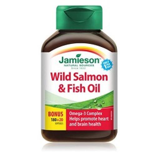 Jamieson Wild Salmon & Fish Oils 1000mg Bonus 180+20 Softgels | UPC 064642062338