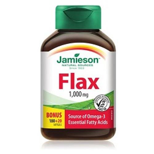 Jamieson Flax Oil 1000mg Bonus 180+20 Softgels   UPC 064642062345