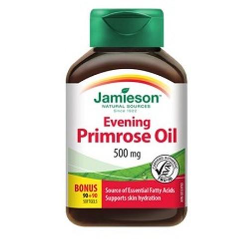 Jamieson Evening Primrose Oil 500mg Bonus 90+90 Softgels   UPC 064642029041