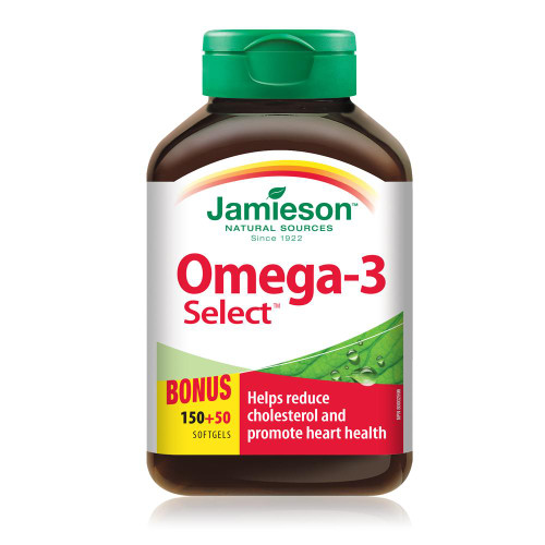 Jamieson Omega-3 Select Bonus 150+50 Softgels   UPC 064642062321