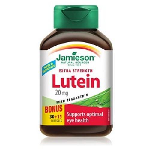 Jamieson Extra Strength Lutein 20mg Bonus 30+15 Softgels | UPC 064642078865