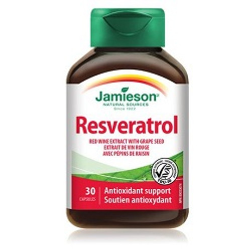 Jamieson Resveratrol Red Wine Extract with Grape Seed 30 Capsules | UPC 064642026118