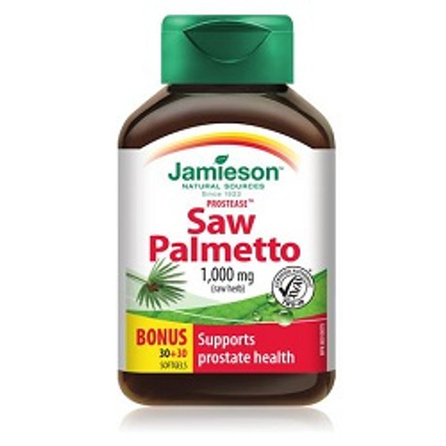 Jamieson Protease Saw Palmetto 1000mg Bonus 30+30 Softgels | UPC 064642028068