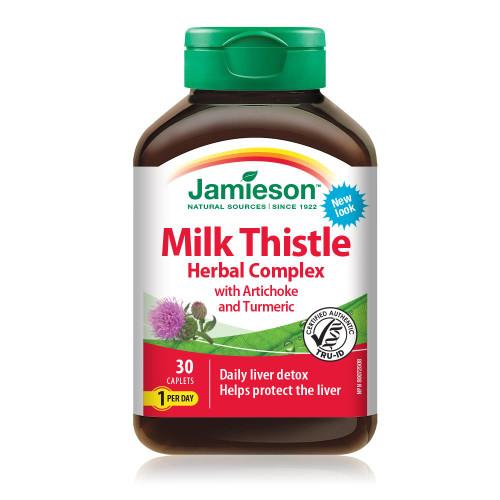 Jamieson Milk Thistle Herbal Complex with Artichoke & Turmeric 30 Caplets | UPC 064642090256