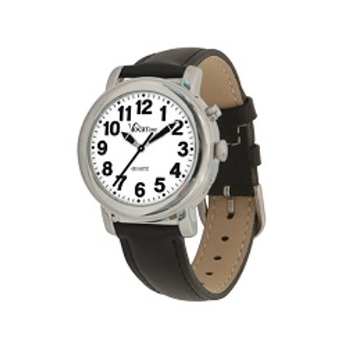 MaxiAids VocaTime Womens Chrome Talking Watch - Black Leather Band