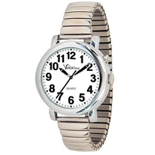 MaxiAids VocaTime Men's Chrome Talking Watch - Stainless Steel Expansion | UPC 612750040146