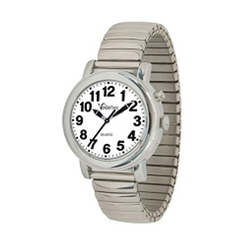 MaxiAids VocaTime Women's Chrome Talking Watch - Stainless Steel Expansion | UPC 612750040184