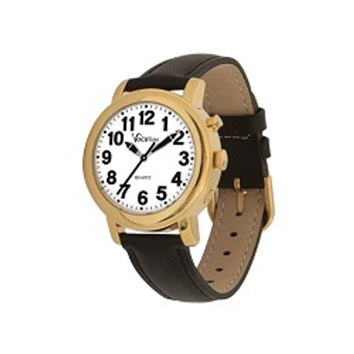 MaxiAids VocaTime Women's Gold Tone Talking Watch - Black Leather Band | UPC 612750503016