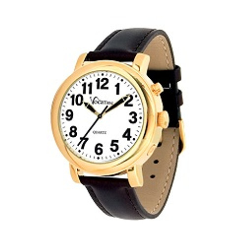 MaxiAids VocaTime Men's Gold Tone Talking Watch - Black Leather Band   UPC 612750050268