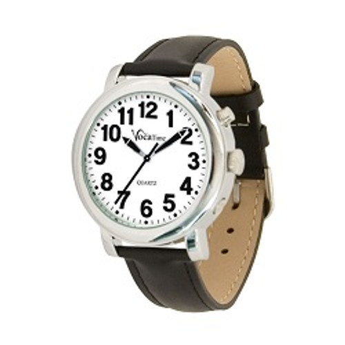 MaxiAids VocaTime Men's Chrome Talking Watch - Black Leather Band