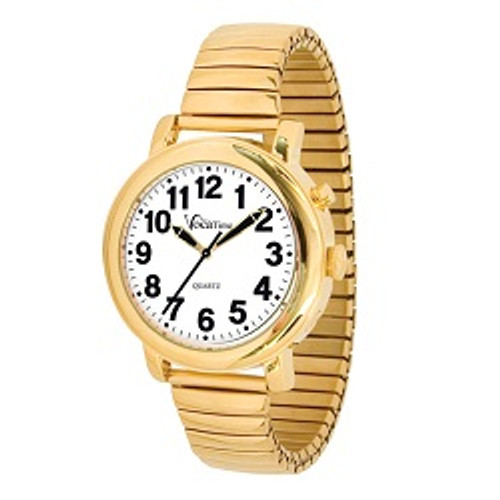 MaxiAids VocaTime Men's Gold Tone Talking Watch - Gold Tone Expansion Band | UPC 612750050282