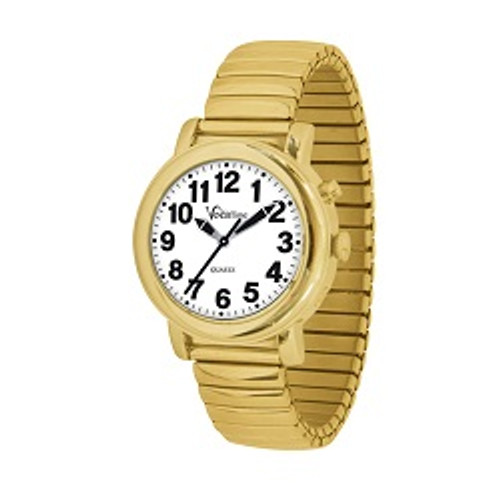MaxiAids VocaTime Women's Gold Tone Talking Watch - Gold Tone Expansion Band   UPC 612750503221