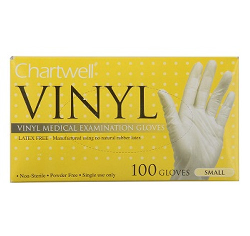 Chartwell Vinyl Powder Free Disposable Gloves   UPC 771295813421, 771295813438, 771295813445