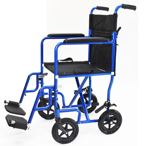 """Invacare Great Aluminum Transport Chair - Electric Blue 18"""" -  INV-B30118LB"""