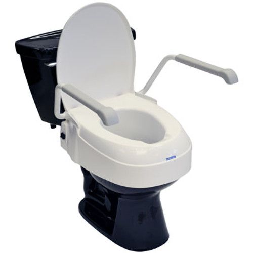 Invacare Adjustable Toilet Seat Raiser with Lid and Armrests A900 INV-1535003   UPC 9153651989