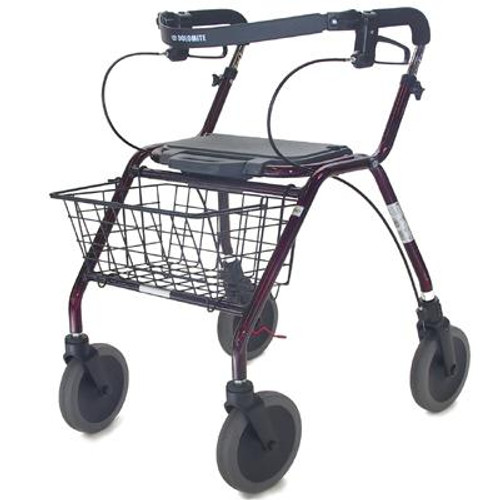 Invacare Dolomite Legacy Deluxe Rollator Walker - Red | 12050-38-86D, 12052-38-86D, 12054-38-86DLX