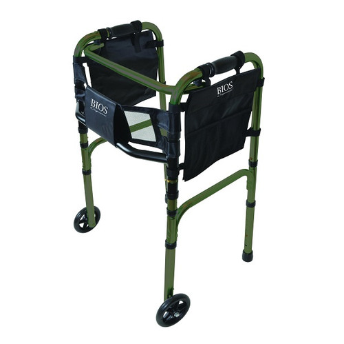 Bios Medical Deluxe Folding Walker with Wheels - Green | UPC 057475560423