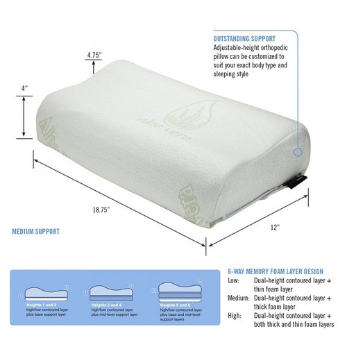 ObusForme 6 Way Adjustable Height Pillow - PL-6WAY-CT | UPC 064845257357