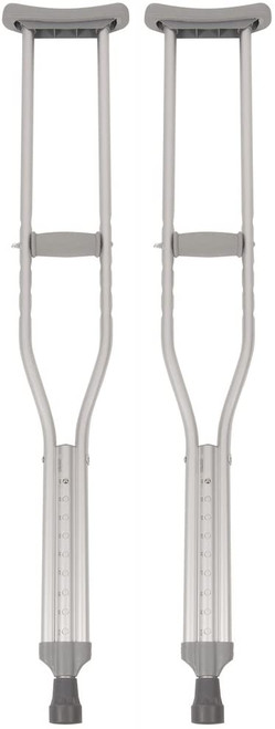 Airway Surgical PCP Adult Push-Button Aluminum Crutches with Tips, Handgrips, Underarm Pads-Grey -  AWS-5092S