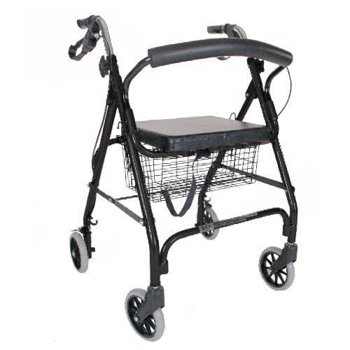 """Airway Surgical PCP Black Rollator, 6"""" WheelsLoop Brakes, Seat, Curved Back, Basket -  AWS-5314BK"""