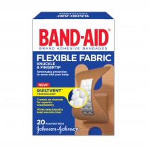 Johnson & Johnson Band-Aids Flexible Fabric Knuckle & Fingertip - Box of 20 | 381370044529