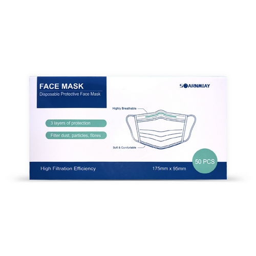 Soarnmiay Disposable 3-Ply Earloop Protective Face Masks Blue - Box of 50 | 608597672657