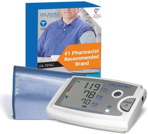 LifeSource Premium Blood Pressure Monitor with Extra Large Cuff | UA-789AC | 093764600623