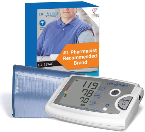 LifeSource Premium Blood Pressure Monitor with Extra Large Cuff | UA-789AC | 093764600623