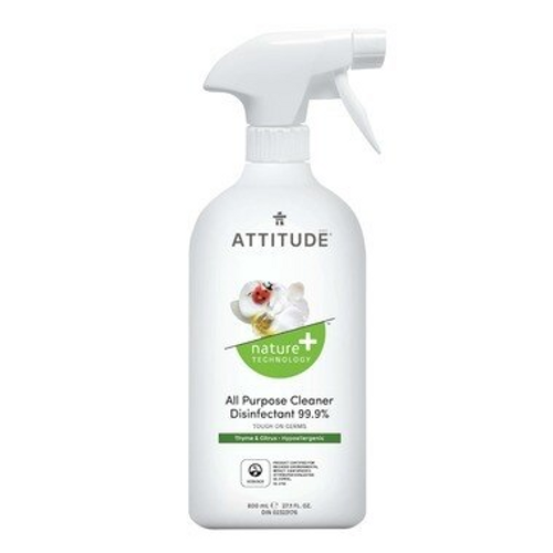 Attitude Nature+ All Purpose Cleaner Disinfectant Spray Thyme & Citrus 800 ml |626232109108