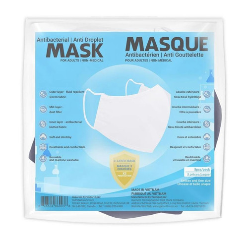Sequence Health Antibacterial/Anti Droplet Mask for Adults 5 Pack - Blue | 628504860038