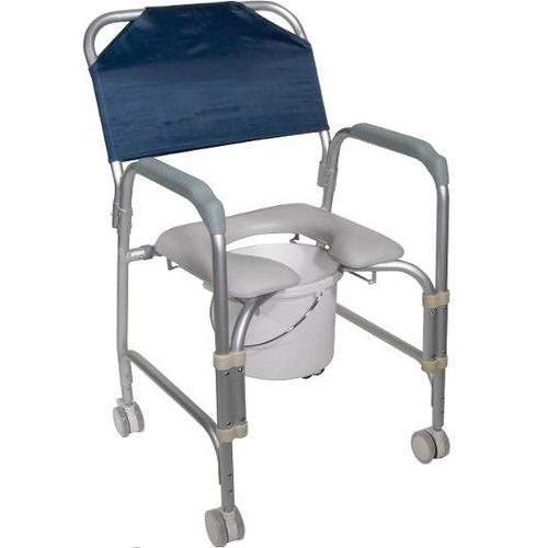Drive Medical Aluminum Shower Chair and Commode with Casters -  DRI-11114KD-1