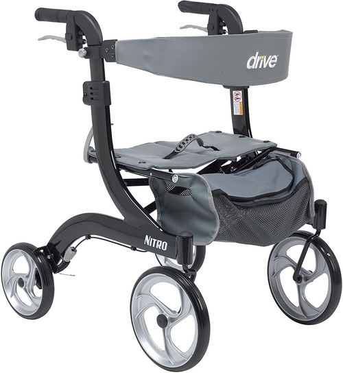 Drive Medical Nitro Aluminum Rollator - Hemi Height Black | 822383523941