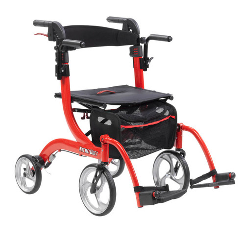 Drive Medical Nitro Duet Rollator and Transport Chair - Red -  DRI-RTL10266DT