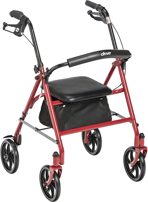 """Drive Medical Durable 4 Wheel Rollator with 7.5"""" Casters - Red 