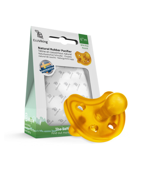 EcoViking Natural Rubber Pacifier - Round   7340151700354   7340151700361