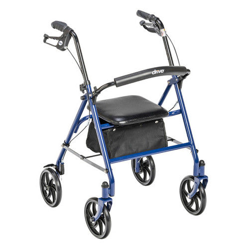 "Drive Medical Durable 4 Wheel Rollator with 7.5"" Casters Blue 