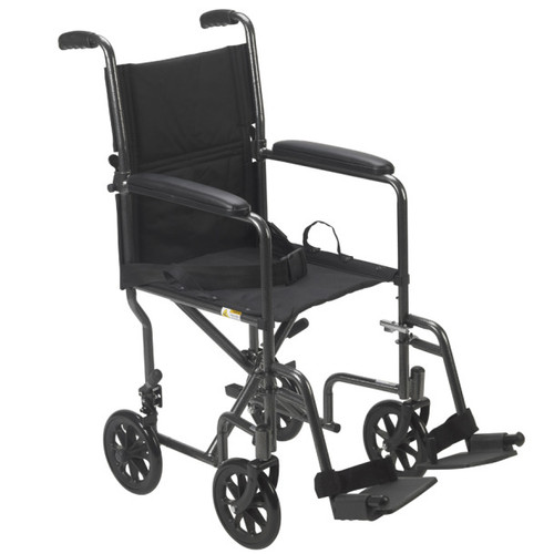 """Drive Medical Steel Transport Chair, Fixed Full Arms   19"""" UPC # 822383132815   Code: TR39E-SV   17"""" UPC # 822383132839   Code: TR37E-SV"""