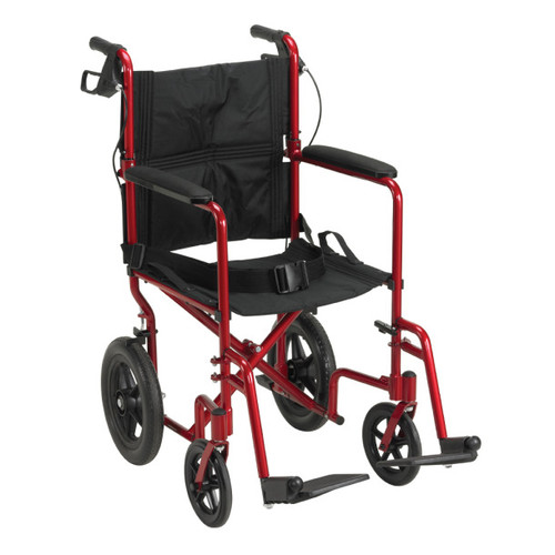 Drive Medical Lightweight Expedition Aluminum Transport Chair Red | UPC: 822383259109 | Code: EXP19LTRD