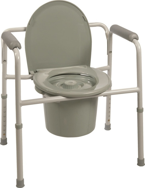 ProBasics Three-in-One Steel Commode with Plastic Armrests -  PRB-BS31C