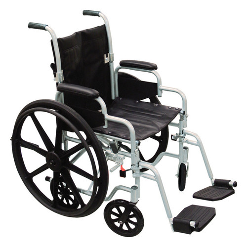 Drive Medical Poly-Fly High Strength, Lightweight Wheelchair/Flyweight Transport Chair Combo -  DRI-TR20