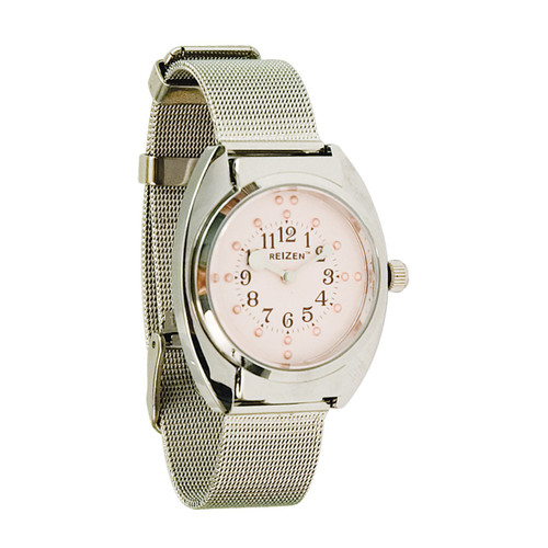 MaxiAids Ladies Braille Watch - Chrome Steel Mesh Band Pink Dial -  MAX-709922