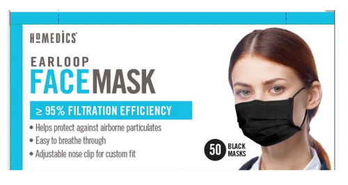 HoMedics Earloop Face Masks for Single Use - 50 Black Masks -  HOM-MSK-F1COBK-50B