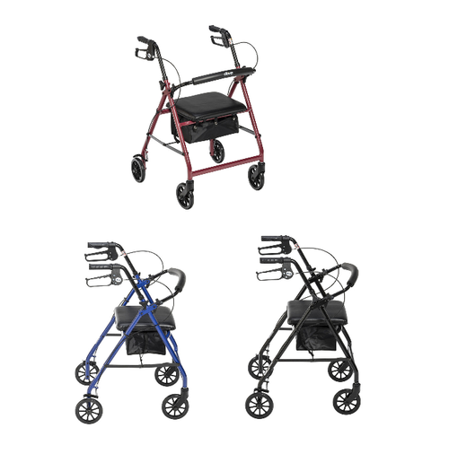 """Drive Medical Aluminum Rollator with 6"""" Casters   R726BK, R726BL, R726RD   822383240664, 822383233208, 822383233222"""