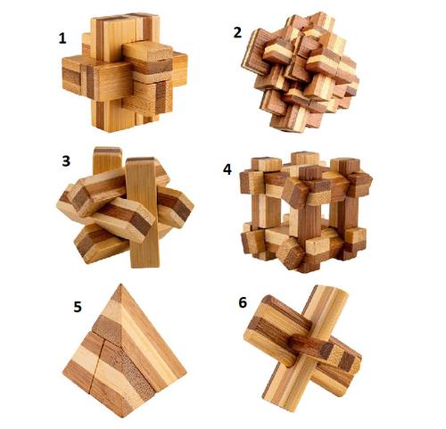 Relaxus Eco Bamboo Brain Teaser Mini Puzzles -  REL-L00779