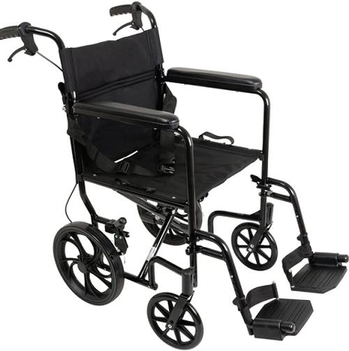 "ProBasics Aluminum Transport Chair with 12"" Wheels | UPC: 815067070527 | SKU: PRB-TCA191612BK"
