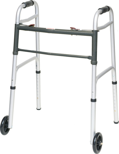 """ProBasics Two Button Release Aluminum Folding Walker with 5"""" Wheels 