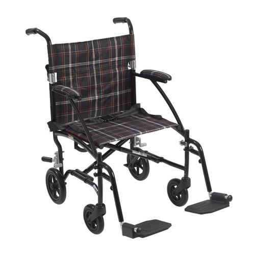 Drive Medical Fly-Lite Aluminum Transport Chair | Black Frame and Black/White/Red Plaid Upholstery | UPC: 822383137384 | SKU: DRI-DFL19-BLK