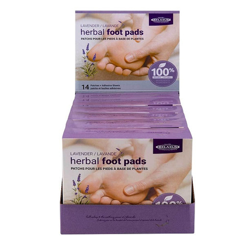 Relaxus Herbal Foot Pads 14 Patches + Adhesive Sheets - Lavender -  REL-703563